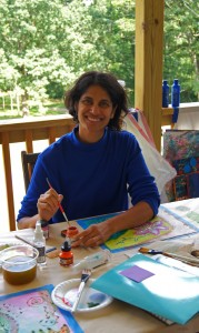 Sheila painting her Intention Flag at my Intuitive Soul Art & Yoga Immersion Retreat